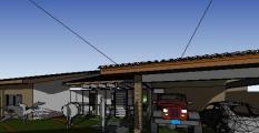 projeto casa terrea tijolo ecologico - 3D View - frente ds
