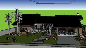 projeto casa terrea tijolo ecologico - 3D View - frente