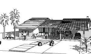 projeto casa terrea tijolo ecologico - 3D View - -FRENTE