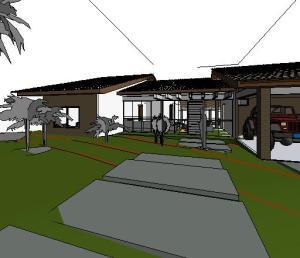 projeto casa terrea tijolo ecologico - 3D View - Walkthrough
