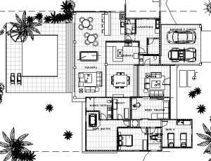 projeto casa terrea tijolo ecologico - Floor Plan - -PAVIMENTO TERREO MOBILIADA