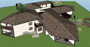 projeto de hotel pousada - 3D View - 3D View 3