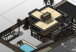 projeto  tijolo ecologico sobrado moderno - 3D - PERSPECTIVA
