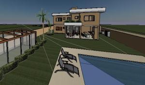 projeto tijolo ecologico sobrado moderno - 3D View - VISTA FACHADA FUNDOS - Copy