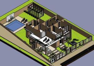 Sobrado tijolo Ecologico - 3D  ISOMETRICA