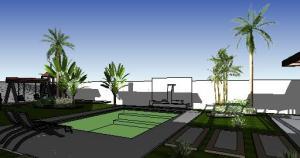 paisagismo projeto casa terrea - 3D View - 3D View 4