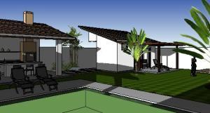 paisagismo projeto casa terrea - 3D View - 3D View 7