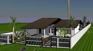 paisagismo projeto casa terrea - 3D View - -FRENTE
