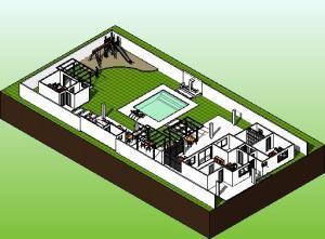 paisagismo projeto casa terrea - 3D View - iso