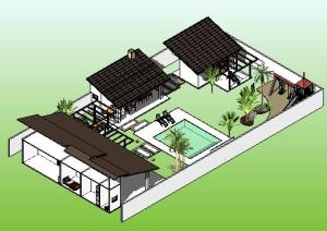 paisagismo projeto casa terrea - 3D View - PERSPECTIVA 1