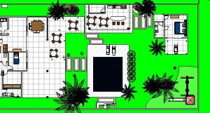 paisagismo projeto casa terrea - Floor Plan - -PAVIMENTO TERREO MOBILIADA