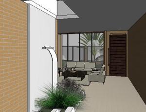 projeto tijolo ecologico casa terrea - 3D View - 3D View 5