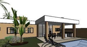 projeto tijolo ecologico casa terrea - 3D View - 3D View 6