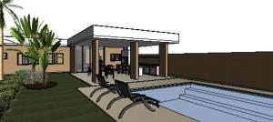 projeto tijolo ecologico casa terrea - 3D View - AREA DE LAZER
