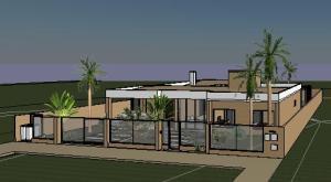 projeto tijolo ecologico casa terrea - 3D View - FRENTE 4