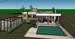 projeto tijolo ecologico casa terrea - 3D View - FUNDOS 3