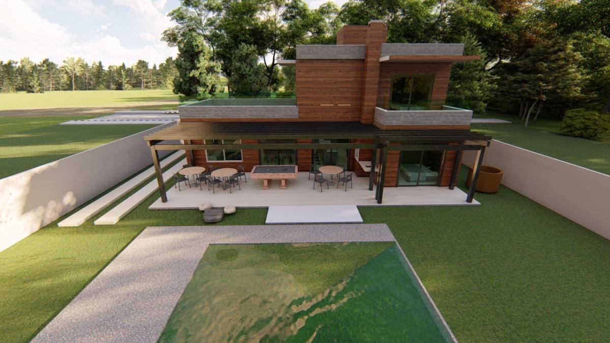 Projeto de sobrado com 4 quartos e piscina
